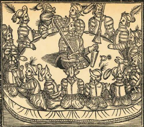 Woodcut of King Arthur and the Knights of the Round Table, 1634