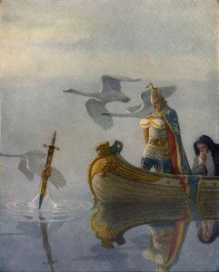 Arthur gets the sword Excalibur from the Lady of the Lake. N.K. Wyett, 1922