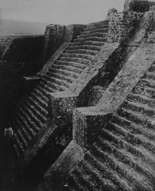 Aztec pyramid in Teopanzolco. Teobert Maler, 1875