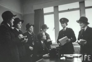 Female police officers at a meeting in Scotland Yard. April 1946