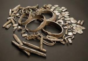 The hoard of silver items from Silverdale, England. Vikings, X century