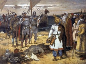Vasnetsov. Invitation of Vikings Rurik and his brothers Sineus and Truvor