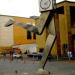 Clock at the bus station in Glasgow, United Kingdom
