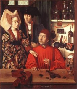 Saint Eligius in his workshop