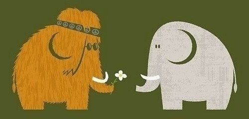 Mammoth and elephant