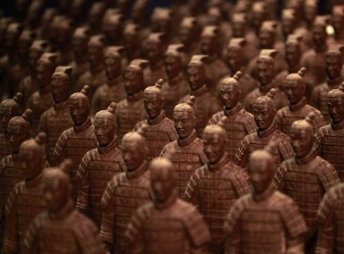 Figures made of chocolate