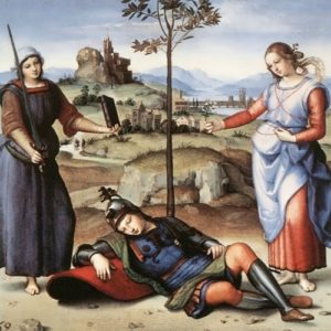 Knight's Dream - one of the earliest paintings of Raphael