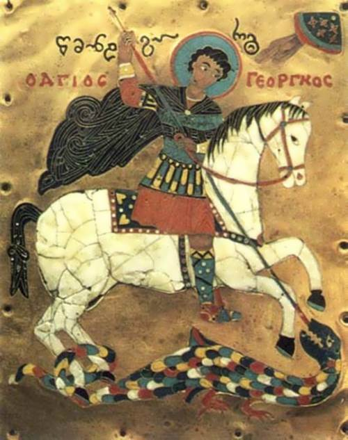 Enamel miniature of St. George, the 15th century, the Georgian National Museum of Art. Look at the upper right corner