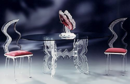 Furniture made of glass