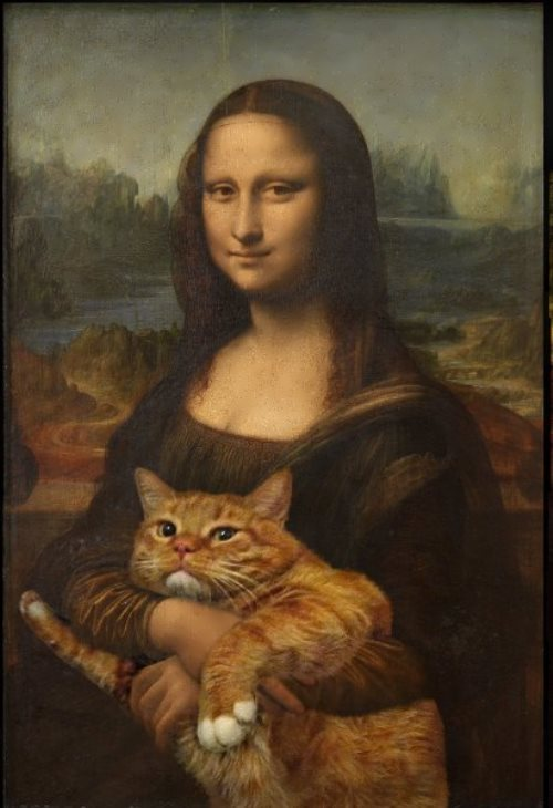Mona Lisa and red cat