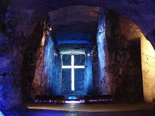 Zipaquira Salt Cathedral in Colombia. Previously, it was a salt mine, where Indians mined salt.