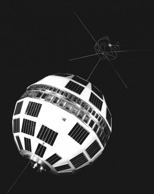Telstar satellite, created in 1962, designed by the Research Institute Bell Telephone Laboratories