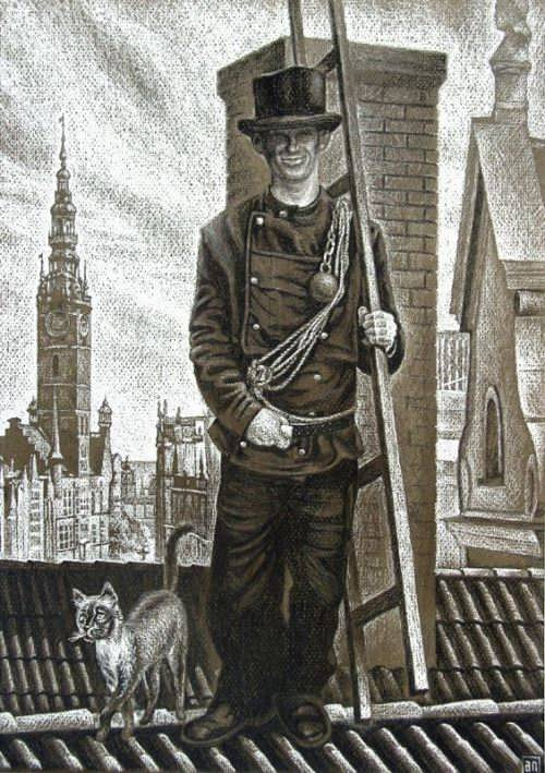 Alexei Panin. Chimney sweep over the city, 2005