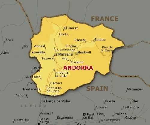 Andorra on the map