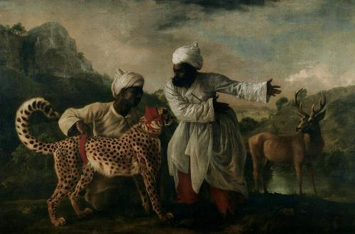 Cheetah with two Indian servants and deer, 1765 by George Stubbs