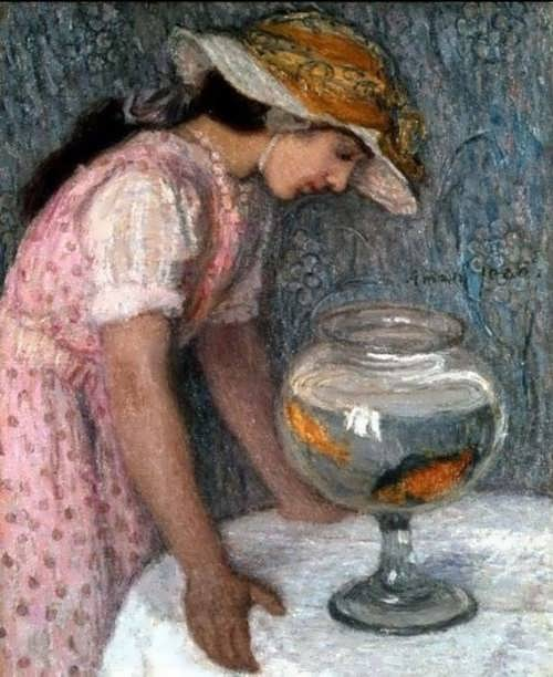 Edmond Francois Aman Jean. Young Girl with a Goldfish
