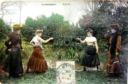 French postcard La rencontre