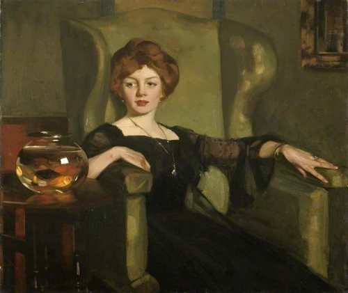 George Henry (Scottish, 1858 - 1943). Lady with goldfish