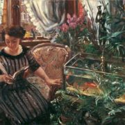 Lovis Corinth, 1911. Woman at aquarium with goldfish