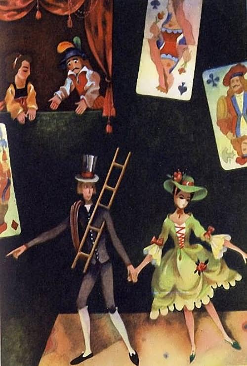 Viktor Pivovarov. Illustration to the fairy tale by Hans Christian Andersen Shepherdess and Chimney sweep