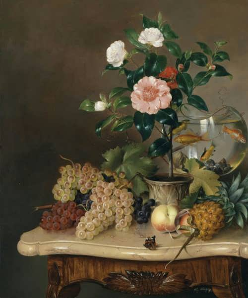 Vinzenz Kreuzer. Still life with goldfish