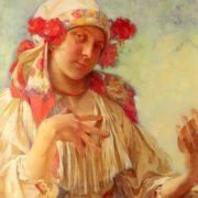 Alphonse Mucha. Girl in Moravian national costume