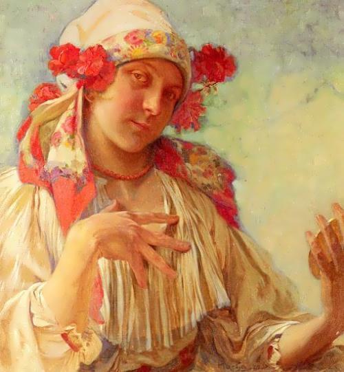 Alphonse Mucha. Girl in Moravian national costume