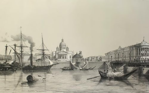 Andre Durand. St. Isaac's Cathedral and the Palace of the Senate. View from the Neva. 1839