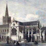 Antique Print of St Patrick's Cathedral Dublin Ireland Restored 1865
