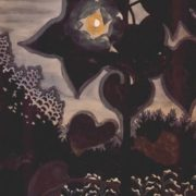 Charles E. Burchfield. Moon through Young Sunflowers, 1916