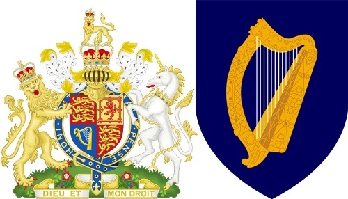Coat of Arms of the United Kingdom with the Irish harp
