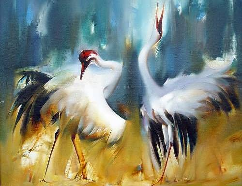 Cranes in paintings