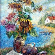 David Burliuk. Bouquet of sunflowers