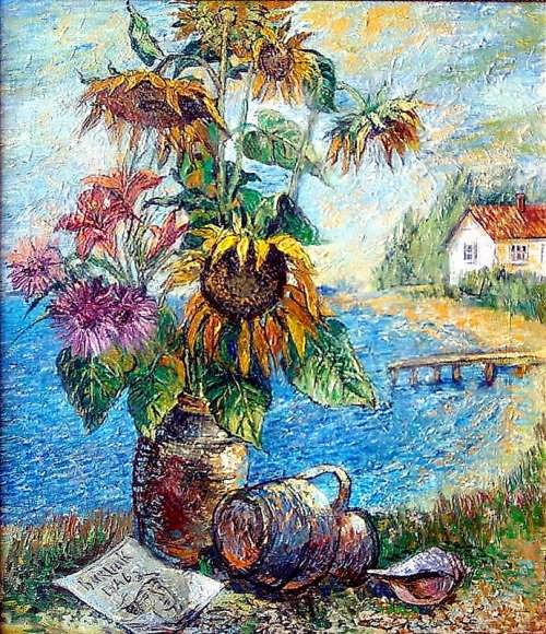 David Burliuk. Bouquet of sunflowers
