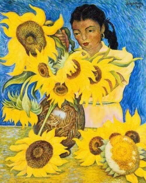 Diego Rivera. Muchacha con Girasoles (Girl with Sunflowers)