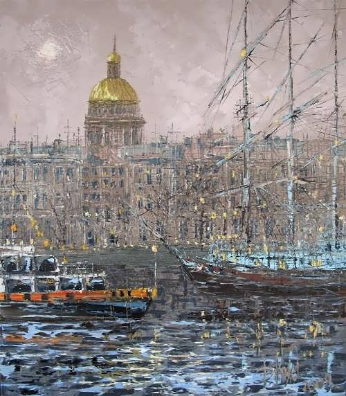 Dmitry Kustanovich Neva. View of St. Isaac's Cathedral