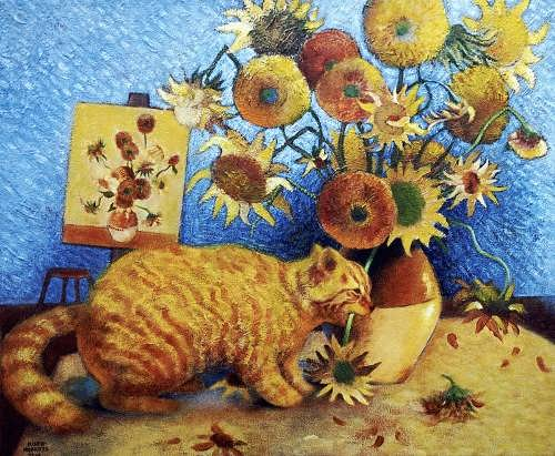 Eve Riser-Roberts. Van Gogh's Cat. Art parody of a bad cat chewing van Gogh's sunflowers