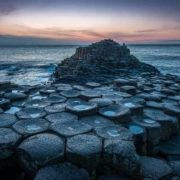 Giant's Causeway - a unique coastal area with 40,000 interconnected basalt columns, formed as a result of an ancient volcanic eruption