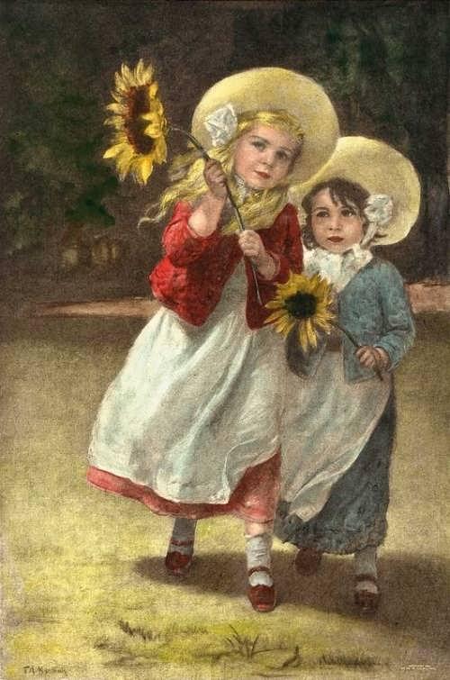 Girls With Sunflowers. F. A. Kaulbach