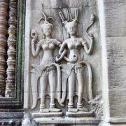 Heavenly apsara dancers on the walls of Angkor Wat
