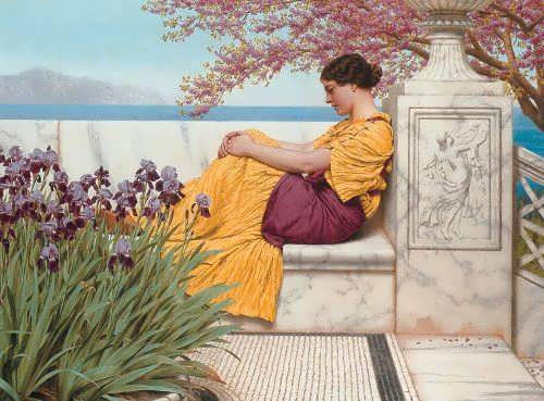 John William Godward - Under the Blossom that Hangs on the Bough, 1917