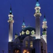 Kul Sharif Mosque at night