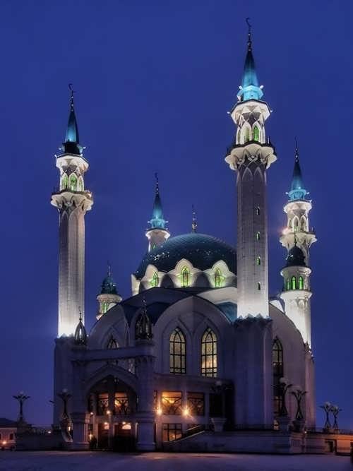 Kul Sharif Mosque at night