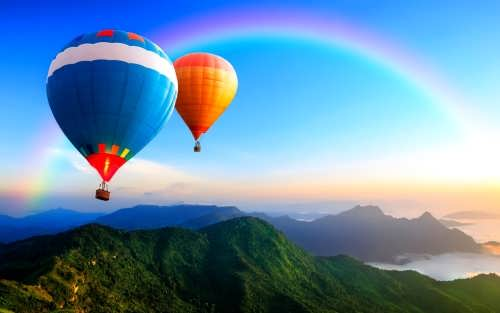 Lovely balloons and rainbow