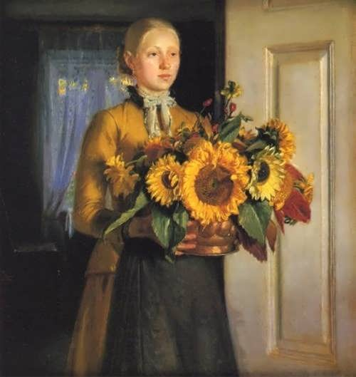 M. Anker. Girl with sunflowers, 1889