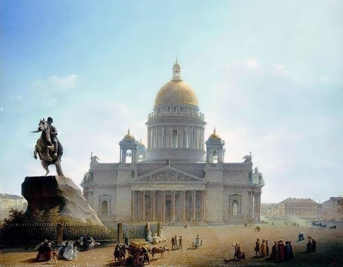 M. Vorobiev. 1844. St. Isaac's Cathedral and the monument to Peter I