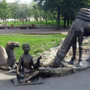 Monument in Chelyabinsk. The boy and two camels