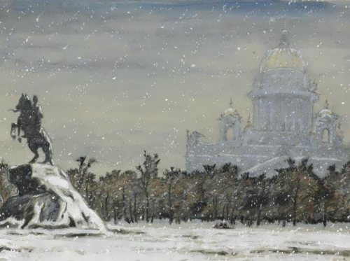 Mstislav Dobuzhinsky. Bronze Horseman, St. Isaac's Cathedral in the background