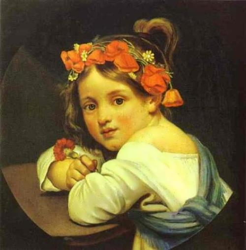 Orest Kiprensky. Girl in poppy wreath, 1819