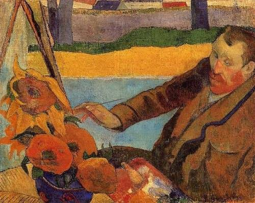 Paul Gauguin. Portrait of Vincent van Gogh drawing sunflowers, 1888